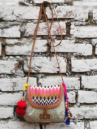 Grey-Multicolored Hand Block-Printed Cotton Sling Bag with Tassels