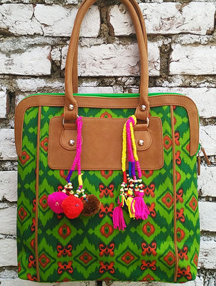 Green-Multicolored Hand Block-Printed Cotton Tote with Tassels