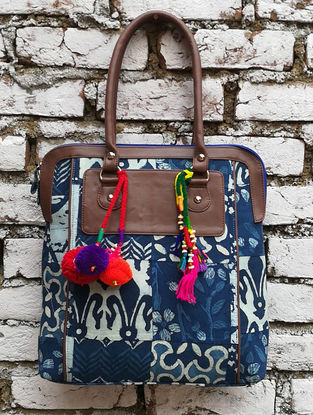 Indigo-Multicolored Hand Block-Printed Cotton Tote with Tassels