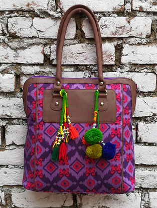Purple-Multicolored Hand Block-Printed Cotton Tote with Tassels