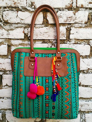 Green-Multicolored Hand Block-Printed Jacquard Tote with Tassels