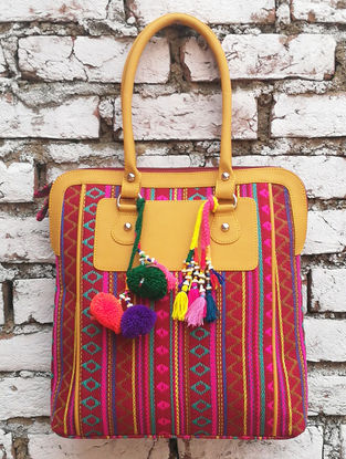 Pink-Multicolored Hand Block-Printed Jacquard Tote with Tassels