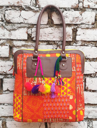 Orange-Multicolored Hand Block-Printed Cotton Tote with Tassels