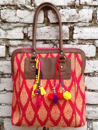 Fuschia-Multicolored Hand Block-Printed Cotton Tote with Tassels