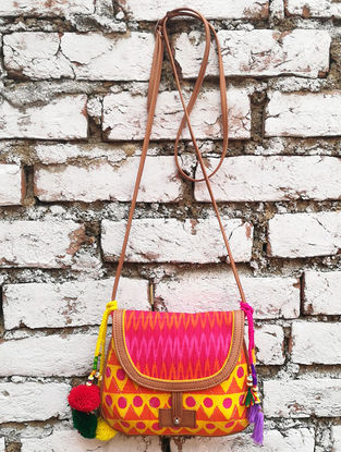 Yellow-Pink Hand Block-Printed Cotton Sling Bag with Tassels