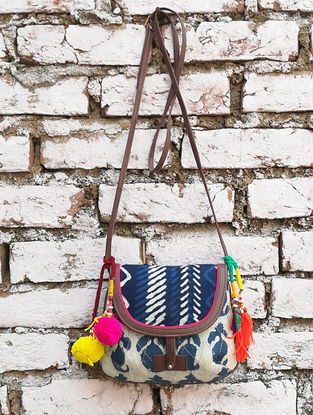 Indigo-White Hand Block-Printed Cotton Sling Bag With Tassels