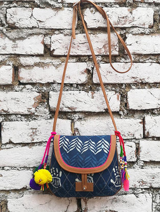 Indigo Hand Block-Printed Cotton Sling Bag With Tassels