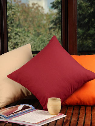 Red Solid Cushion Cover 16in X 16in