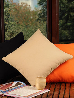 Beige Solid Cushion Cover 16in X 16in