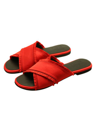 Red Satin Flats