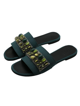 Green Satin Flats with Embellishments