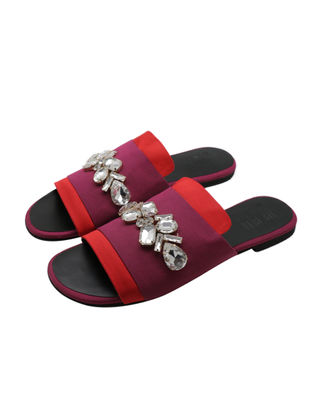 Red-Wine Satin Flats with Embellishments