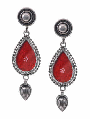 Red Hand-painted Paper Glass Silver Earrings