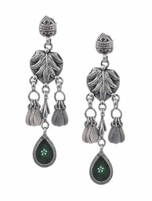 Green Hand-painted Paper Glass Silver Earrings
