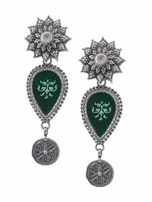 Green Hand-painted Paper Glass Silver Earrings with Floral Design