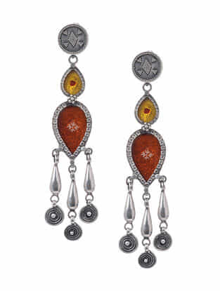 Yellow-Orange Hand-painted Paper Glass Silver Earrings