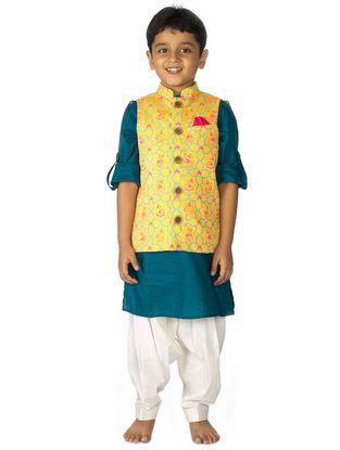 Blue-Yellow Mouse Print Cotton Nehru Jacket Pathani Set (Set of 3)