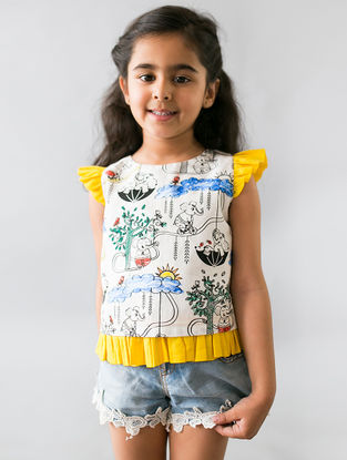 White-Yellow Printed Organic Cotton DIY Ruffle Top with Permanent Markers