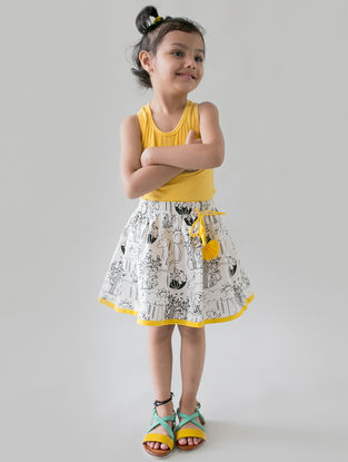 White-Yellow Printed Organic Cotton DIY Skirt with Permanent Markers