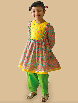 Pink-Green Hand-Embroidered Printed Cotton Kurta Salwar Set with Gota Work and Beads