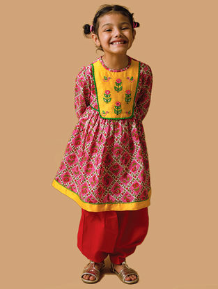 Red-Yellow Hand-Embroidered Printed Cotton Kurta Salwar Set with Gota Work and Beads