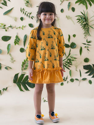 Mustard-Green Printed Cotton Dress with Ruffles