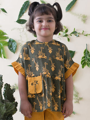Olive-Yellow Printed Cotton Top with Ruffles