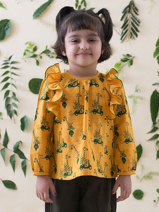Mustard-Green Printed Cotton Top with Ruffles