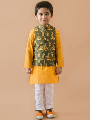 Olive-Mustard Printed Cotton Nehru Jacket and Kurta Set (Set of 3)
