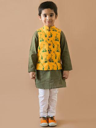 Mustard-Olive Printed Cotton Nehru Jacket and Kurta Set (Set of 3)