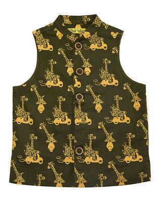Olive-Mustard Printed Cotton Nehru Jacket