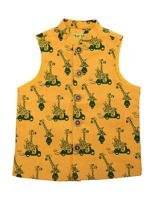 Mustard-Olive Printed Cotton Nehru Jacket