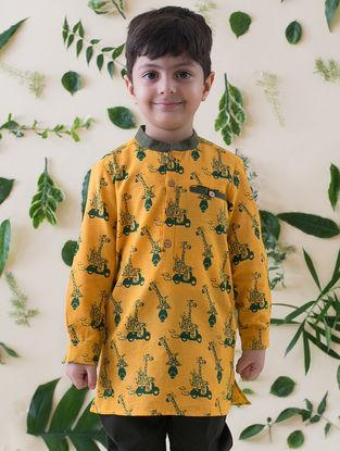Mustard-Olive Printed Cotton Kurta Shirt