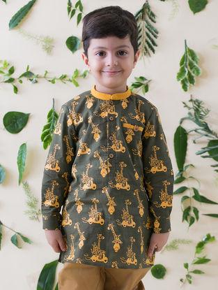Olive-Mustard Printed Cotton Kurta Shirt