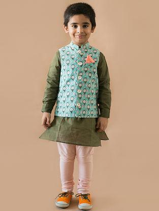 Olive-Blue Printed Cotton Nehru Jacket and Kurta Set (Set of 3)