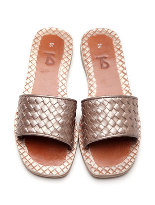 Bronze Metallic Leather Flats