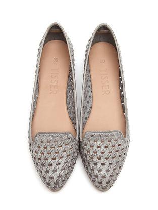 Grey Leather Ballerinas