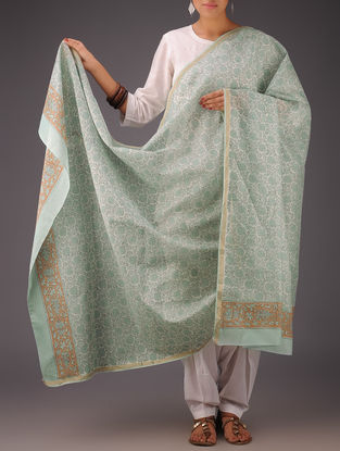 Mint Green-White Floral Chanderi Block-Printed Dupatta