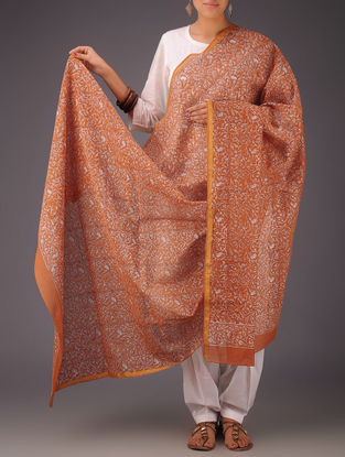 Orange-White Floral Chanderi Block-Printed Dupatta