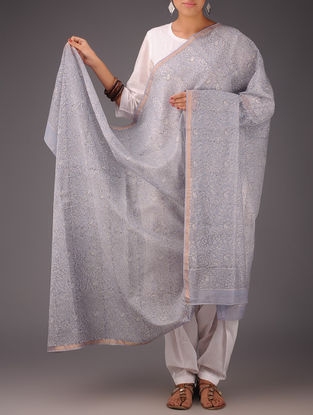 Purple-White Floral Chanderi Block-Printed Dupatta