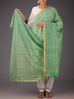 Green-White Floral Chanderi Block-Printed Dupatta