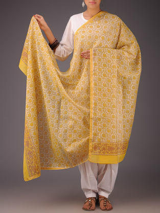 Yellow-White Floral Chanderi Block-Printed Dupatta