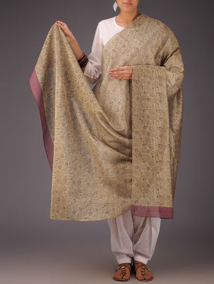 Brown-Maroon Floral Chanderi Block-Printed Dupatta