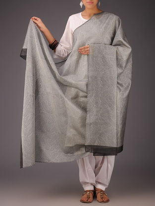 Grey-Black Paisley-Floral Chanderi Block-Printed Dupatta