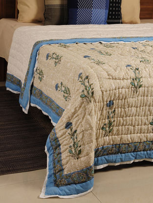 Blue Hand Block Printed Reversible Double-Bed Quilt 98in X 85in