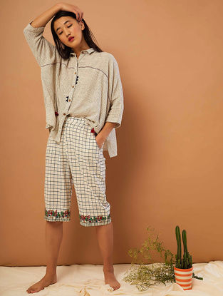 Beige-Blue Hand-embroidered Cotton Pants