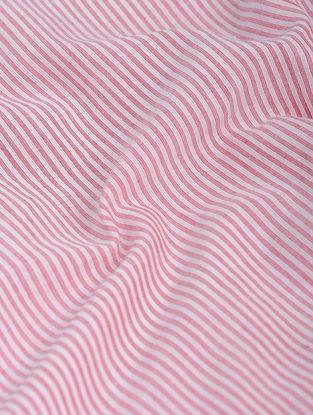 White-Pink Striped Khadi-Cotton Fabric