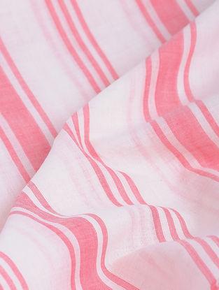 White-Red Striped Khadi-Cotton Fabric