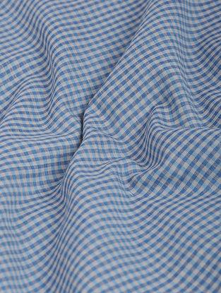 Blue-Ivory Checkered Khadi-Cotton Fabric