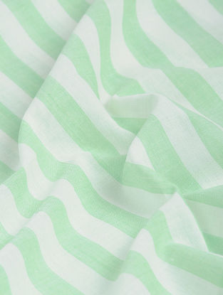 Ivory-Green Striped Khadi-Cotton Fabric